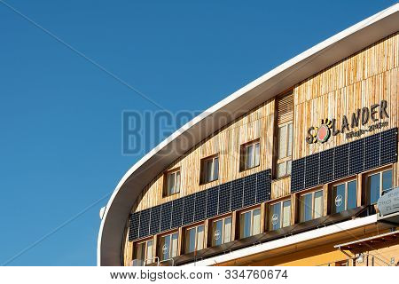 Ski Resort Folgarida Marilleva.folgarida Marilleva.italy.18.02.2019. View Of The Top Of The Restaura