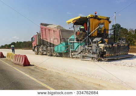 Construction Of A New Modern Highway Tavrida In The Crimea. Backfilling Of Rubble From The Truck Int