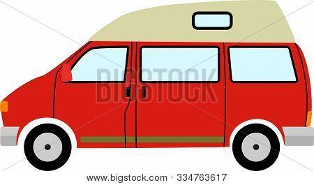 Simple Red Cartoon High Top Campervan Illustration.