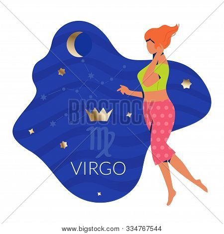 Virgo Woman Zodiac And Horoscope Concept. Modern Vector Art With Woman And Golden Crown. Illustratio