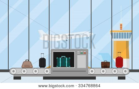 Airport Conveyor Belt With Passenger Luggage And Police Scanner. Baggage Carousel In Airport Differe