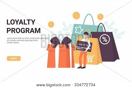 Loyalty Program Concept. Character Man With A Card In His Hands. Bonuses, Sales, Gifts, Online Shopp