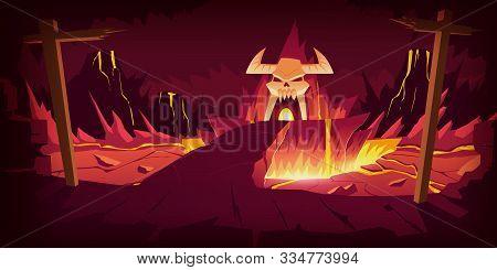 Hell Landscape, Cartoon Vector Illustration. Infernal Stone Cave And Bridge, Road To Hell With Heat