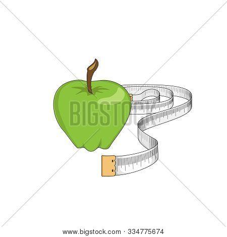 Loose Weight Measurements. Healthy Diet. Vegan. Vector Illustration.