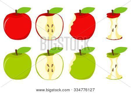 An Apple, Half An Apple, A Slice From An Apple. Vector Illustration, Vector.