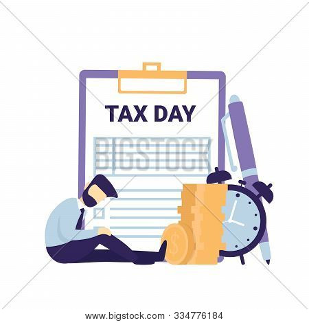 Tax Day Flat Vector Concept Icons Illustration. Clipboard Tax Form, Clock, Coins Money And Sad Busin