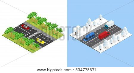 Isometric Roads With Cars In Summer, And Road In Winter. Winter Driving And Road Safety. The Car Rid