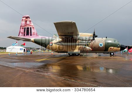 Fairford / United Kingdom - July 13, 2018: Royal Jordanian Air Force Special Livery Lockheed C-130h
