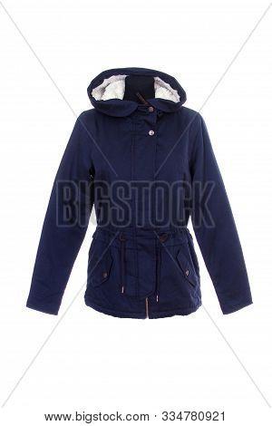 Blue Parka Jacket, Isolated On White Background. Warm Parka Jacket With Fur Lining