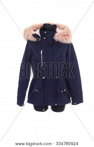 Blue Parka Jacket With Fur On A Hood Isolated On White Background. Warm Parka Jacket With Fur Lining