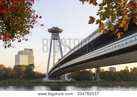 Snp Bridge Over Danube River (also Known As New Bridge And Ufo Bridge), Bratislava, Slovakia