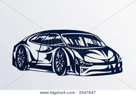 Blue Sports Car Sketch