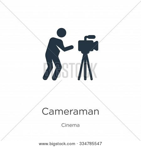 Cameraman Icon Vector. Trendy Flat Cameraman Icon From Cinema Collection Isolated On White Backgroun
