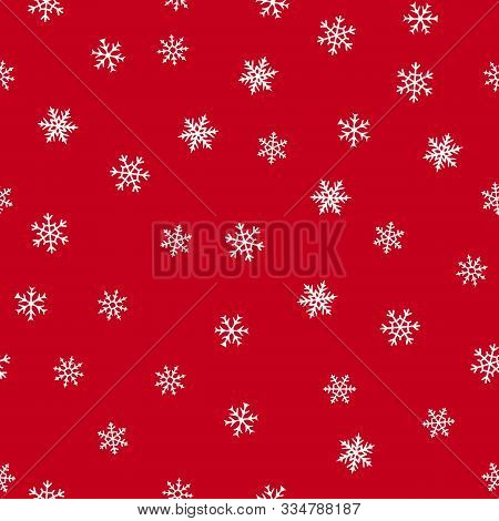 Snowflakes Seamless Pattern. Vector Texture With Small Hand Drawn White Snowflakes On Red Background
