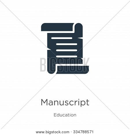 Manuscript Icon Vector. Trendy Flat Manuscript Icon From Education Collection Isolated On White Back