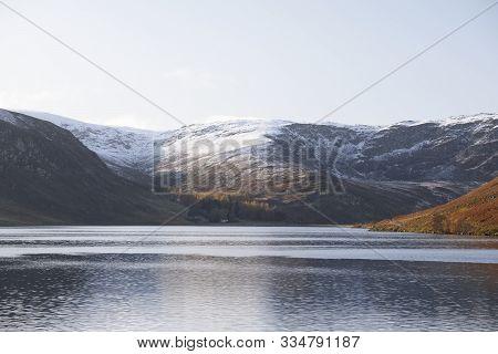 Loch Lee At Glenesk Where River Esk Joins Lake At Start Of Walk Track At Angus Scotland