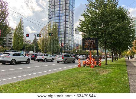 Vancouver, Canada - September 15, 2019: Incident Lions Gate Bridge Sign, Major Traffic Jam On West G