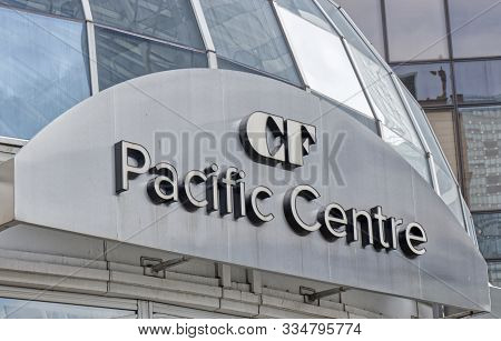 Vancouver, Canada - September 20, 2019: Close Up View Of The Pacific Centre Signboard On Howe Street