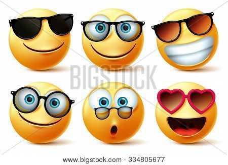 Emoji Or Emoticon Faces Wearing Glasses And Eyeglasses Vector Set. Emoticons Or Icon Face Head In Su