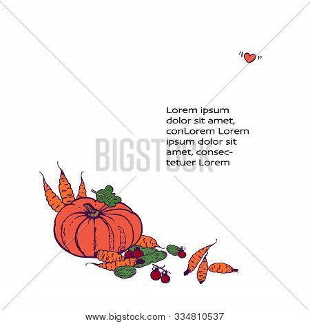 Organic Shop Background. Copy Space. Variety Of Decorative Vegetables Hand-drawn In Cartoon Style. I