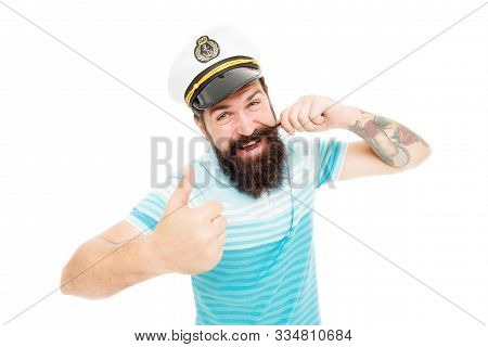 Proud Of His Mustache. Happy Sailor Twirl Mustache. Bearded Man With Mustache Give Thumbs Up. Fabulo