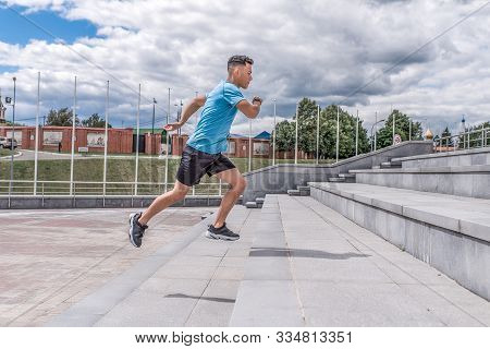 Young Sportsman, Male Athlete, Runs Up Steps, Summer Day City, Workout Fitness, Active Lifestyle Of