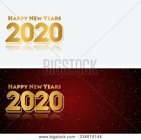 Happy New Year 2020 Red Black And White Gradation Background