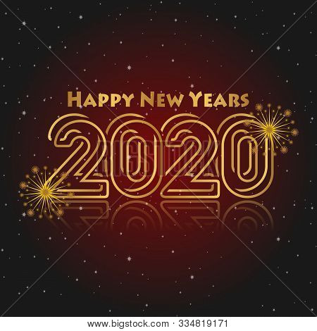 Happy New Year 2020 Red Black Gradation Background