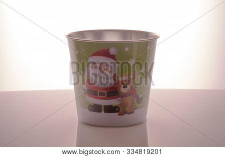 Metal Zink Christmas Buckets Santa Claus Green Background