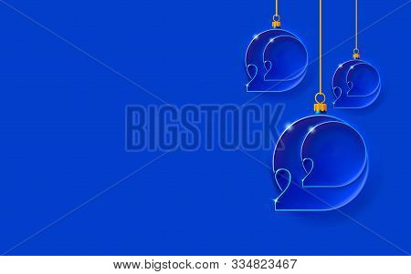 New Year Blue Background With Christmas Balls. Bubbles Inlaid With 2020 Thin Inscription. Happy Desi