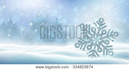 Magic Winter Background With Snow Covered Christmas Trees. Merry Christmas And Happy New Year Templa