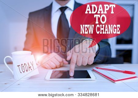 Handwriting text writing Adapt To New Change. Concept meaning Get Used to Latest Mindset and Behavior Innovation Male human wear formal clothes present presentation use hi tech smartphone. poster
