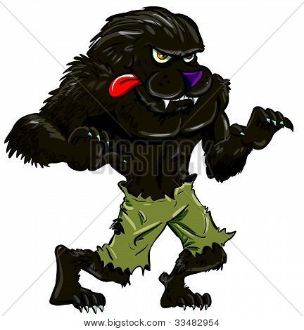 Cartoon werewolf with tongue. Isolated on white