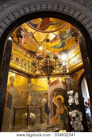 Thessaloniki, Greece - September 24, 2019: Shrine With Paintings Against A Gold Background, Votive O