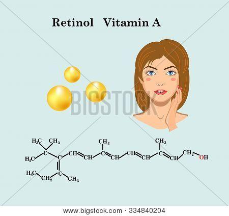 Retinol Vitamin A Formula And Face Of Girl