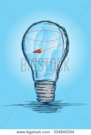 Trapped Airplane In A Bulb - Out Of Ideas Concept Vector Illustration