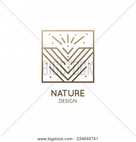 Geometric Abstract Mountain Logo. Zen Minimal Symbol Of Mountains. Natrural Minimalistic Landscape I