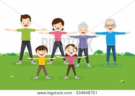 Family Exercising Together.happy Family Exercising Together In Public Park For Good Health, Healthy,