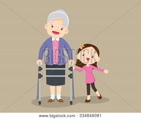 Elderly Walking.granddaughter Helps Grandmother To Go To The Walker.kids Caring For The Elderly.chil
