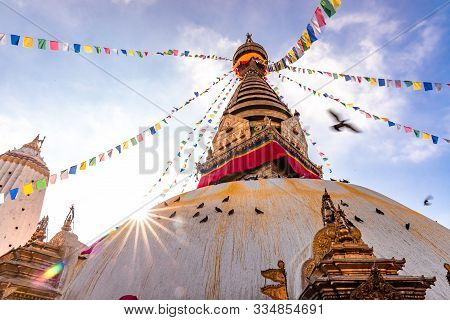 Swayambhunath Stupa, Aka The Monkey Temple, During Sunrise In Kathmandu, Nepal. A Unesco Heritage Si