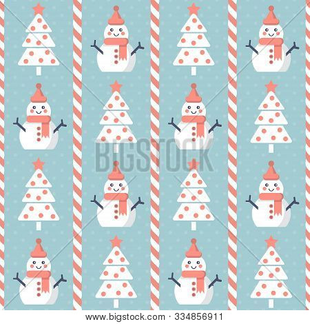 Christmas Pattern. Seamless Vector Illustration With Stylized Christmas Trees And Snowmen