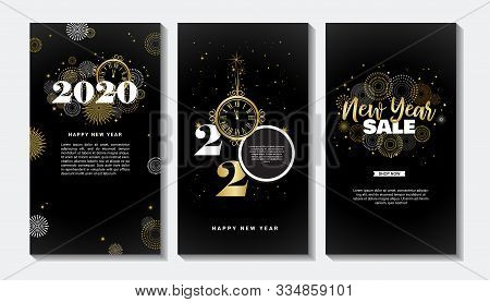 Happy New Year- 2020 . Collection Of Greeting Background Designs, New Year, Social Media Promotional