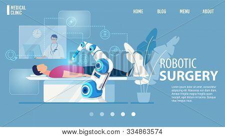 Robotic Surgery Innovative Medicine Flat Landing Page. Modern Medical Technologies. Cartoon Robot Ar