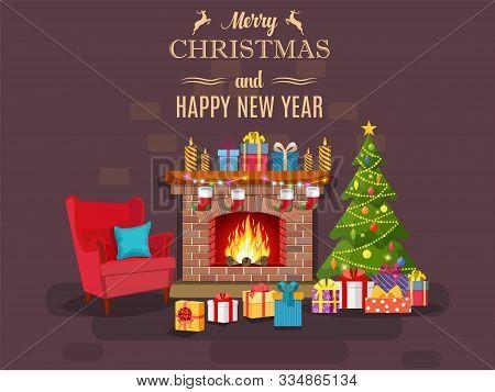 Christmas Fireplace Room Interior. Christmas Tree, Gifts, Decoration, Sofa, Fireplace. Cozy Noel Xma