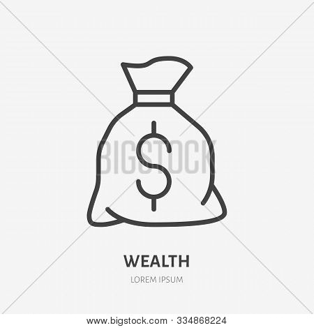 Money Bag Flat Line Icon. Wealth Vector Illustration. Thin Sign Of Moneybag, Treasure Pictogram