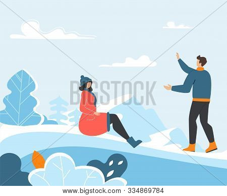 Young Family Spending Funny Winter Time Outdoors
