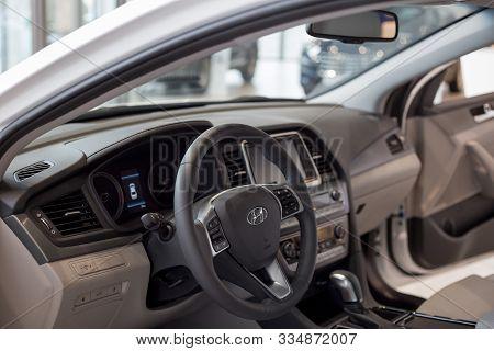 Russia, Izhevsk - October 16, 2019: Hyundai Showroom. Interior Of New Modern Sonata With Automatic T