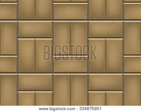 Seamless Pattern Of Tiled Cobblestone Pavers. Geometric Mosaic Street Tiles. Sand Yellow Color. Sing
