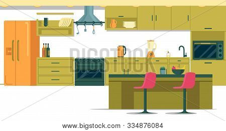 Spacious Well-equipped Kitchen With Kitchen Island. Large Kitchen With Everything You Need For Cooki
