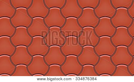 Seamless Pattern Of Tiled Cobblestone Pavers. Geometric Mosaic Street Tiles. Red Color. Milano Paver